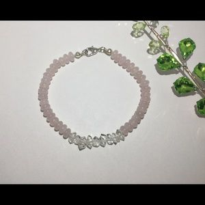 Herkimer and rose quartz bracelet